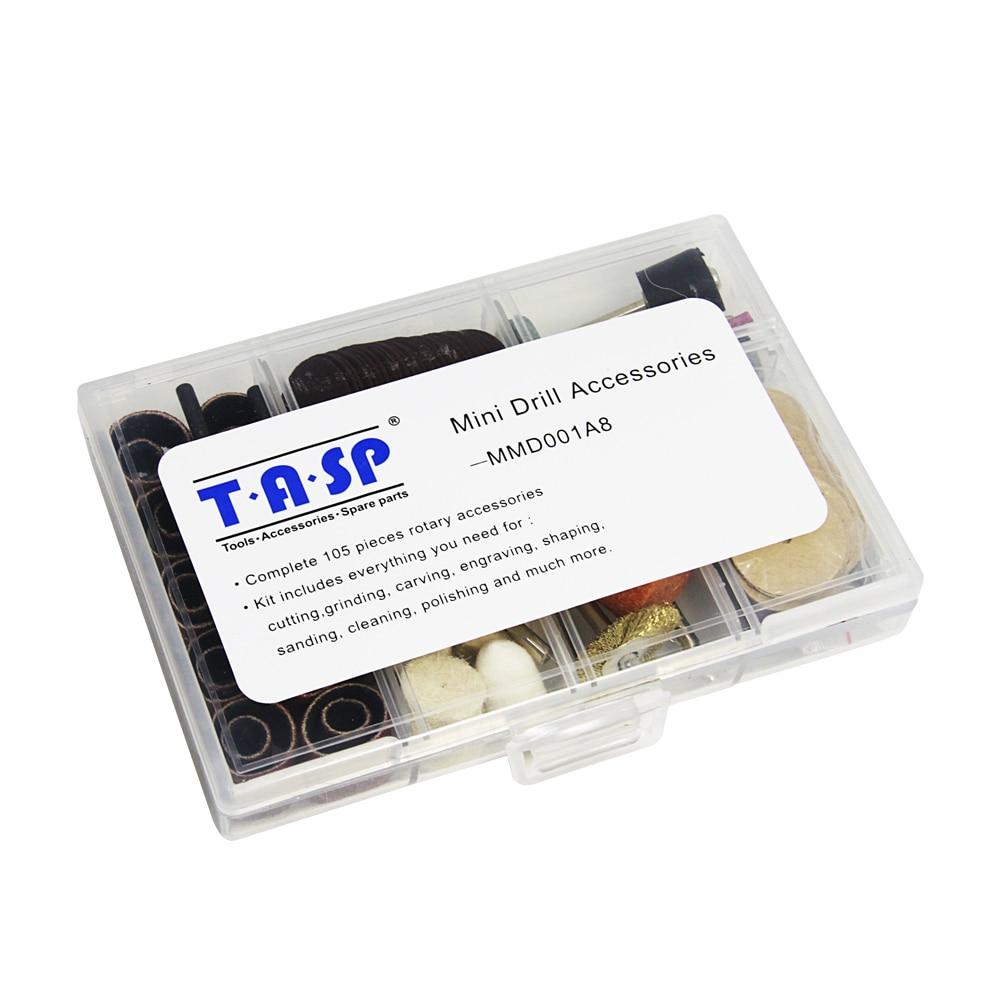 TASP 105pcs Dremel Rotary Tool Accessories Mini Drill Abrasive Disc Bit Set for Grinding Sanding Polishing Cutting Drilling