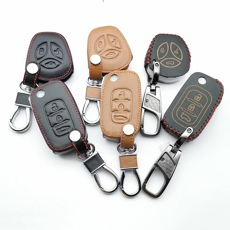 100% leder Schlüssel Fall Auto Schlüssel Brieftasche Kette für die Vesta LADA Granit Kalina Priora X-Ray Sport Limousine für Renault 3 Tasten