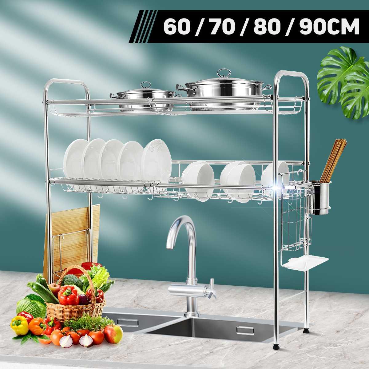 2 طبقات الصلب رف لتجفيف الأطباق فوق بالوعة المطبخ تخزين الرف مكافحة سطح الفضاء التوقف حامل أدوات المائدة تجفيف المنظم