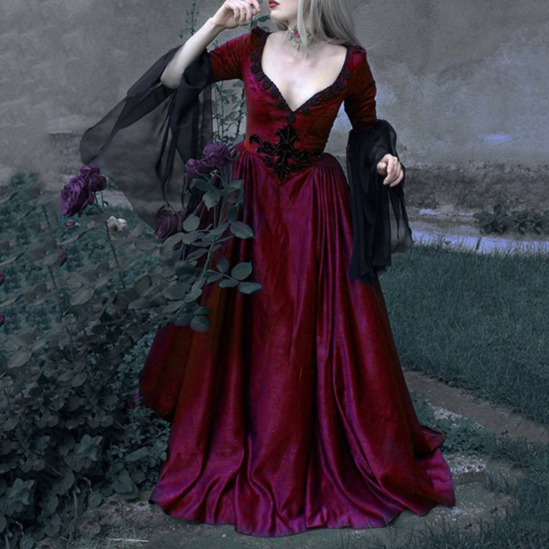 Goth Vintage Elegant Long Dress Women Autumn Winter Dark Black Red Mesh Retro Evening Party Dinner Dress Plus Size 5XL Vestidos