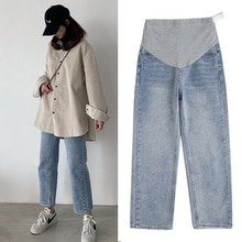1088# Wide Leg Loose Straight Denim Maternity Jeans Spring Autumn Belly Pants Clothes for Pregnant W