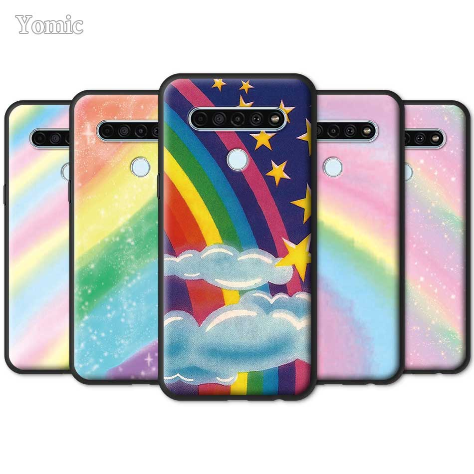 Estrella arcoíris brillo ostentoso caja del teléfono para LG K40s K41s K61 K50s G6 G7 G8 ThinQ K40 K51s Q51 Q70 Q60 Q61 negro TPU cubierta suave