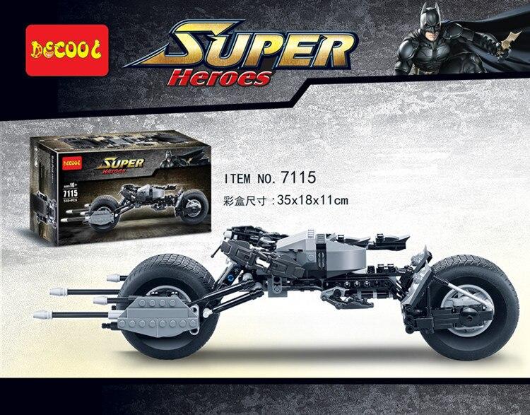 7115 superhéroes El caballero oscuro Lepinblock Batman Batcycle Batmobile 338 Uds ladrillos Batpod Montessori Juguetes de bloques de construcción