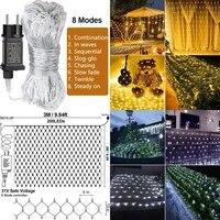 31v 3x2m christmas light garden decoration outdoor fairy lights garland net light holiday lighting led curtain mesh string light
