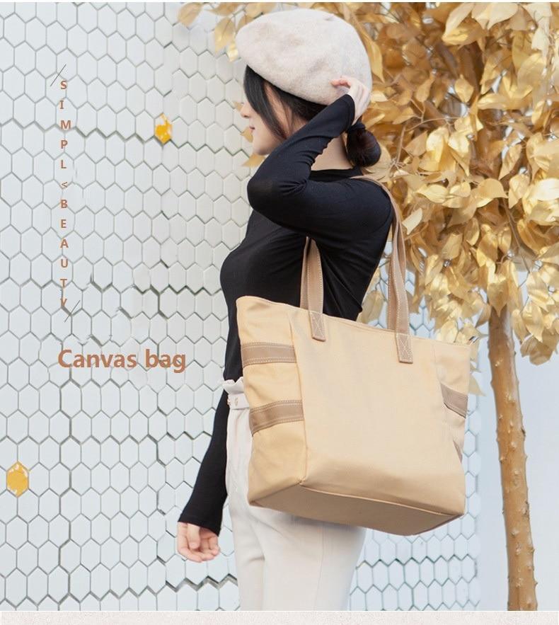 weysfor 4 pcs set women handbag messenger bags for ladies fashion shoulder bag lady pu leather casual female shopper tote femme Women Canvas Bag Female Shoulder Bags Large Capacity Cloth Handbag Korean Style Shopper Tote Casual Purse Sac Femme