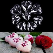 1 ensemble/2 pièces 65/80mm coeur forme bricolage en plastique transparent bain moule acrylique moule offre spéciale