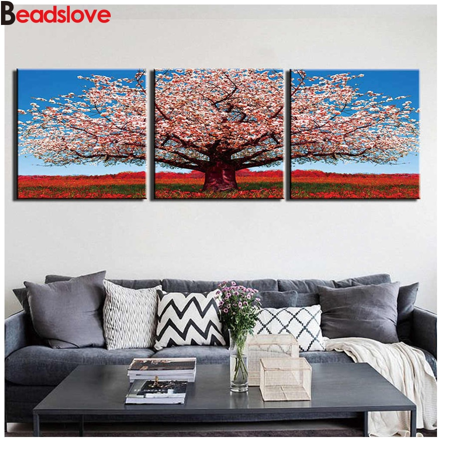 D DIY cuadro cuadrado redondo diamante pintura árbol Rosa naturaleza paisaje bordado de mosaico de piedras de estrás con diamantes arte pegatina de pared 3 uds