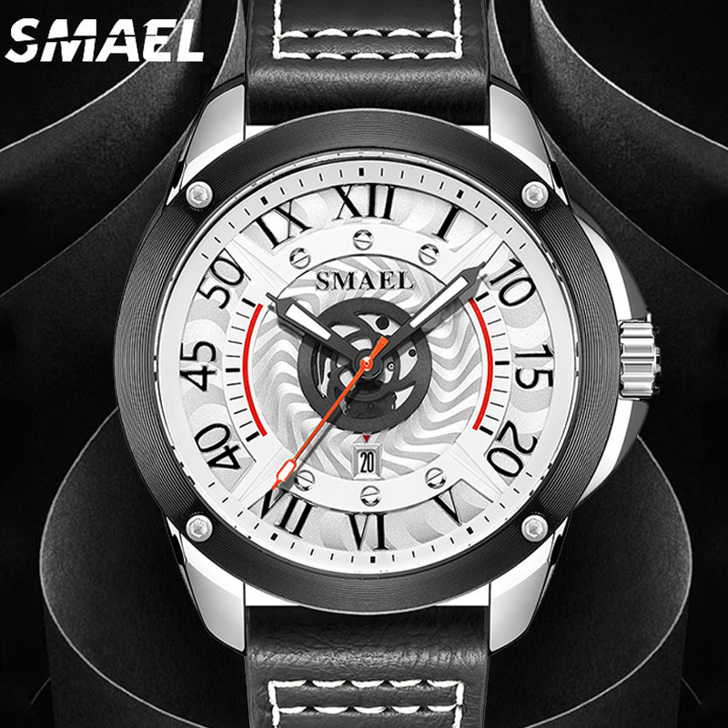 AliExpress - SMAEL Top Leather Watches Luxury Watch Men Watches 2021 Male Clocks Date Sport Military Strap Quartz Business Men Watch Gift New