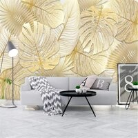 milofi custom wallpaper mural nordic simple rich and elegant tropical rainforest golden banana leaf garden background wall