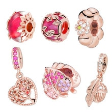 2019 Autumn New 925 Sterling Silver Sparkling Pave Leaf Charm Beads fit Original Pandora Bracelets Women DIY Jewelry