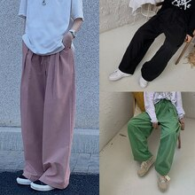 Solid Color for Women Spring 2021 New Japanese BF Style All-Matching Casual Loose Straight Wide Leg