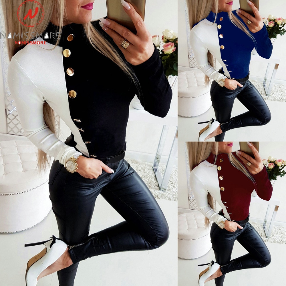 Женские футболки с длинными рукавами для уличной одежды в стиле пэчворк, дизайнерские облегающие пуловеры с круглым вырезом и длинными рукавами