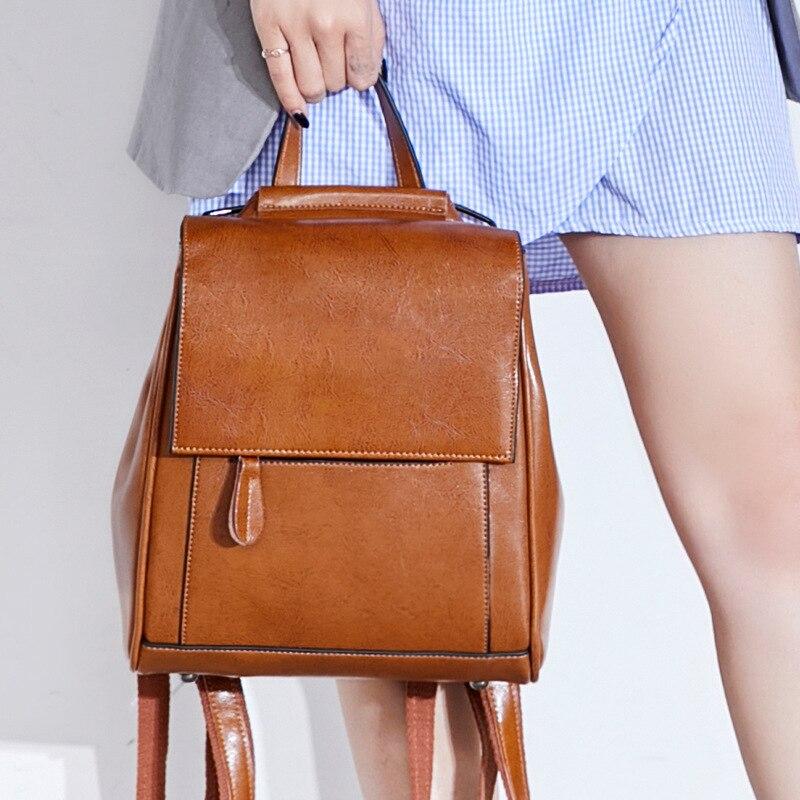 المرأة النفط الشمع جلد البقر على ظهره مدرسة Daypack جودة عالية جلد طبيعي عبر الجسم حقائب كتف حقيبة السفر حقيبة الظهر