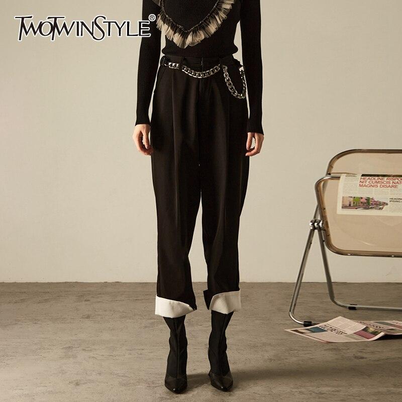TWOTWINSTYLE مزاجه الأسود المرأة بانت عالية الخصر كامل طول كولوربلوك مكبل فضفاض السراويل للنساء 2021 الخريف الملابس
