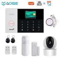 Tuya     systeme dalarme de securite domestique sans fil  wi-fi  GSM GPRS  433MHz  avec detecteur de fumee  camera IP  application SmartLife