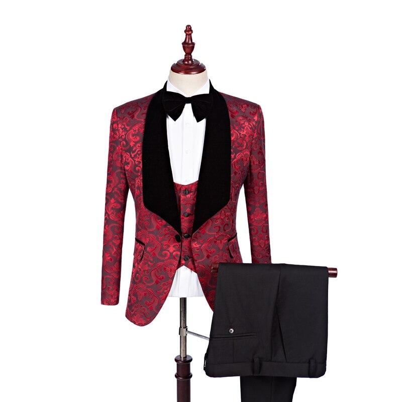 Мужские костюмы, бордовые Свадебные смокинги с цветочным рисунком, официальные костюмы жениха, вечерние костюмы для выпускного вечера, Terno ...