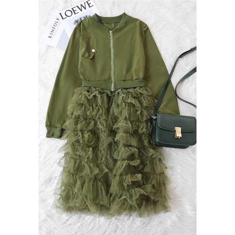 Chaqueta de mujer 2019 moda Color sólido manga larga chaquetas de mujer encaje con volantes traje de Costura de malla elegante abrigo chaquetas largas
