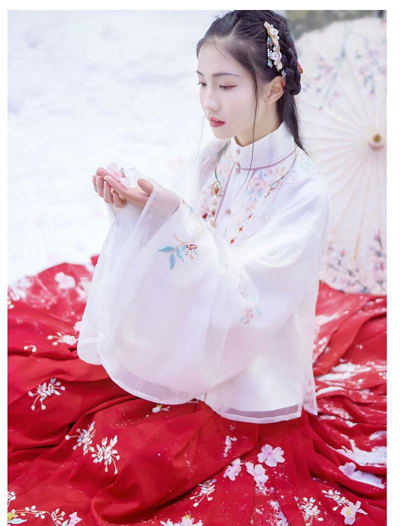 Hanfu Women Chinese Ancient Traditional White&Red Fantasia Carnival Cosplay Costume Fancy Dress For Lady Plus Size