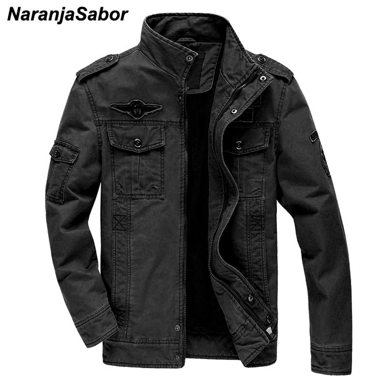 Куртка NaranjaSabor Мужская однотонная, модная верхняя одежда в стиле милитари, брендовая одежда, большие размеры 6XL, осень 2020