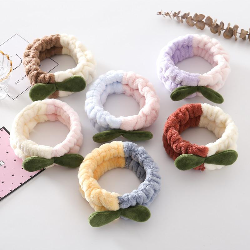Coral Fleece Grass Bud Headband Splicing Color Plush Wide Head Hoop Soft Elastic Hair Band Face Wash