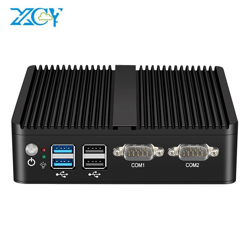 XCY Fanless Mini PC Intel Celeron J4125 Quad-Cores Dual NIC Gigabit Ethernet 2x RS-232 Serial Ports 4x USB Embedded IPC