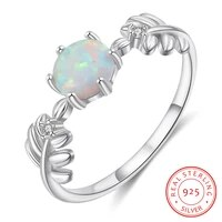 real 925 sterling silver leaf ring round white opal ring with zircon female finger rings summer jewelry wedding gift for women