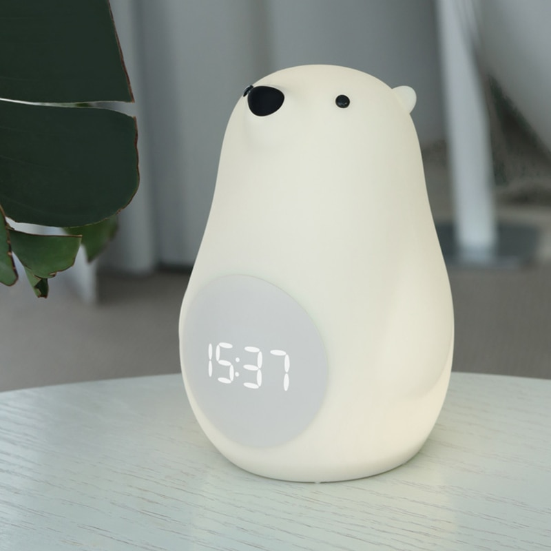 Modern Big White Wake-up Bear Clock Night Light for Bedroom Atmosphere Voice Control Touch Lights Charging Bedside Night Light enlarge