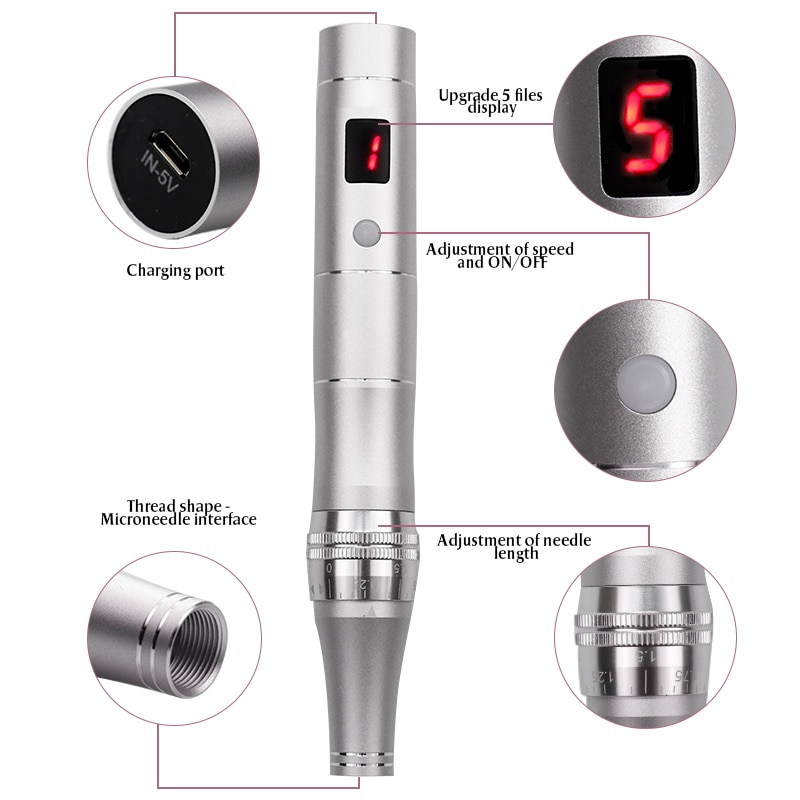LCD Screen 5 Levels Micro Tiny Needles Derma MYM Tightening Remove Scar Reduce Skin Wrinkles Scar Stretch Marks Removal Device enlarge