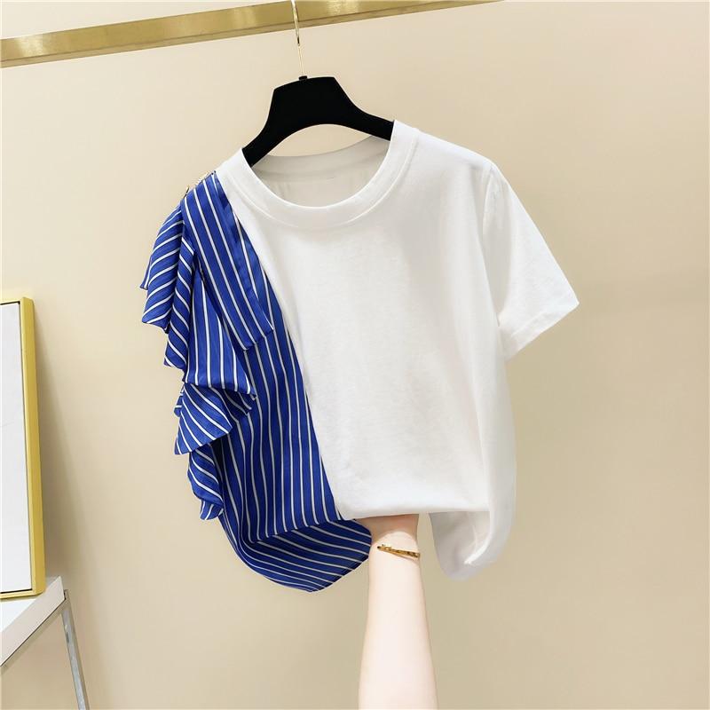 Camiseta de manga corta con volantes y costuras a rayas asimétricas, Camiseta holgada de estilo coreano de verano para Mujer