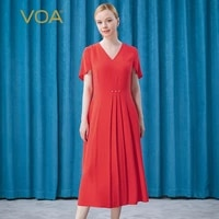 voa silk dream red peach petal sleeve short sleeve mid waist pearl decorative button three dimensional pleated dress ae628