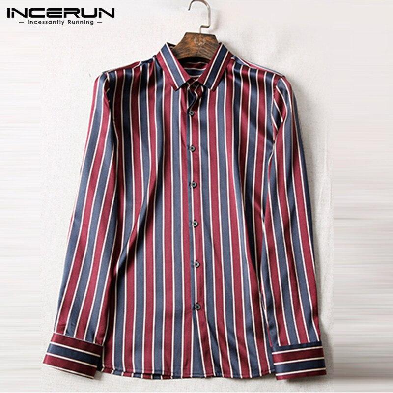 Camisa de vestir de satén de seda INCERUN para hombre Camisa de manga larga con botones de solapa rayada Camisa Masculina 2020 camisas de Negocios Sociales de oficina para hombres