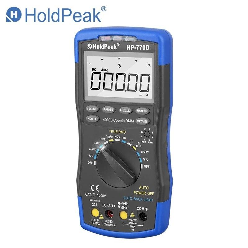 HoldPeak رقمي متعدد HP-770D عالية الدقة السيارات المدى صحيح RMS 40000 التهم NCV AC DC الجهد الحالي أوم اختبار