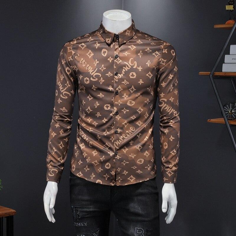 Мужские рубашки с длинным рукавом, рубашки с принтом, не требующие глажки, с длинным рукавом, мужские повседневные деловые рубашки, трендовы...