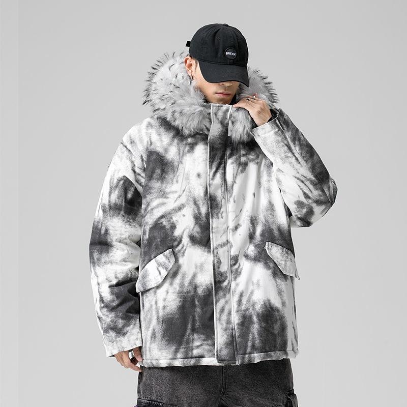 Winter Thick Jacket Men's Warm Fashion Casual Fur Collar Hooded Coat Men Loose Large Size Cotton Short Coat Mens Parka Clothes