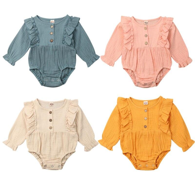 Ropa de invierno de otoño mono de Color sólido de manga larga para bebés recién nacidos