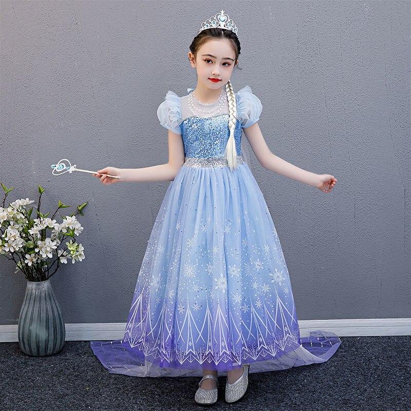 Disney Frozen Princess Dress Summer Cute Pettiskirt New Snowflake Print Children's Dance Performance Skirt Catwalk Costumes