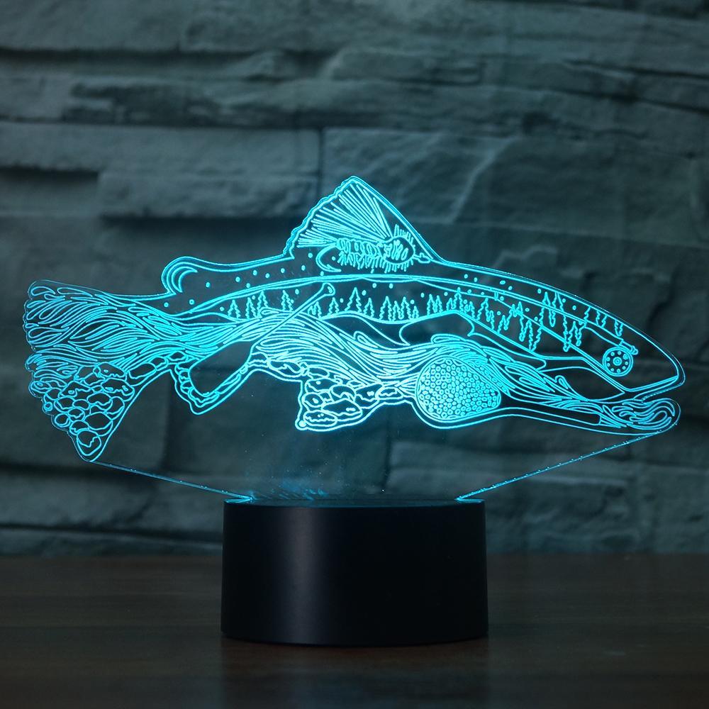 Mother Fish LED RGB Night Light 7 Color Change Desk Light 2825 Action Figure PVC Kids Toys Brinquedos Christmas Gift