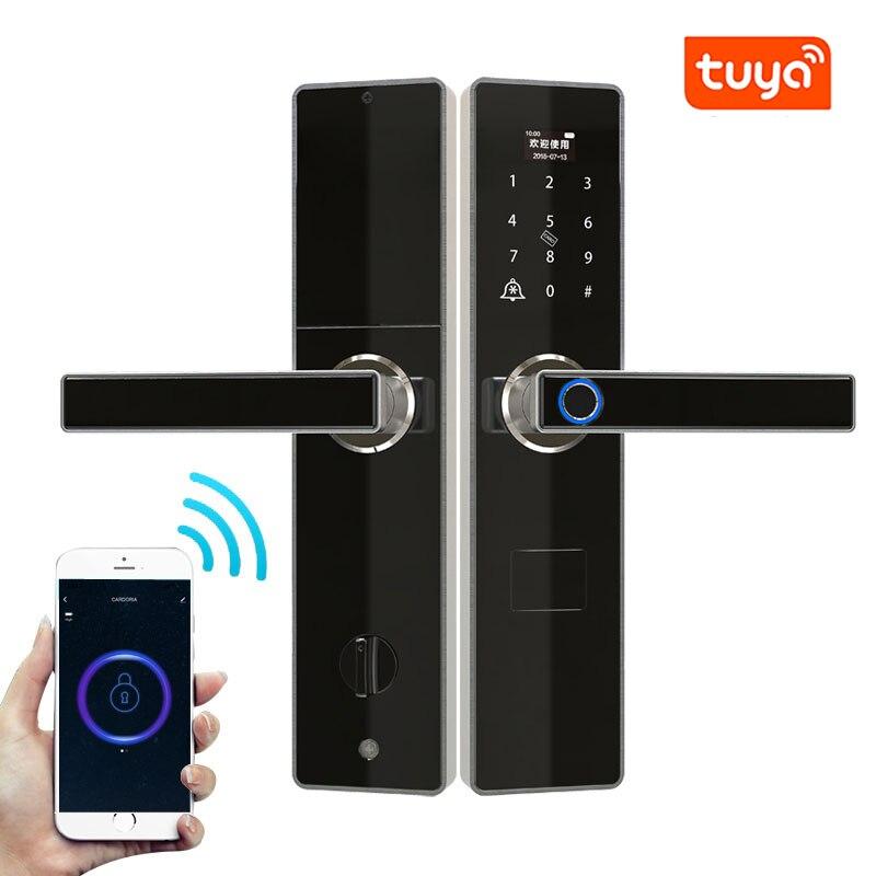 Tuya Wifi Door Lock With Fechadura Digital, Smart Door Lock with Remotely Control, Fingerprint ,Password ,RFID Card Lock