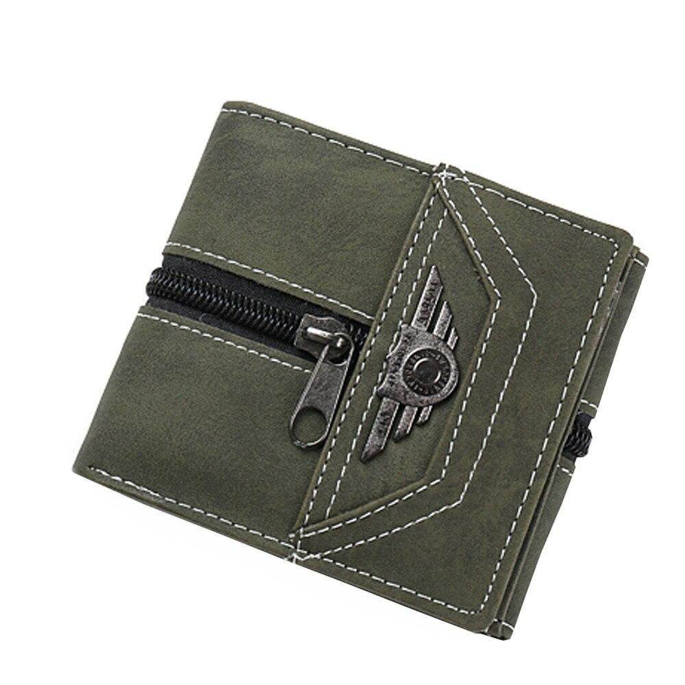 Vintage de diseñador de cuero de los hombres de la cartera corta monedero titular de la tarjeta de bolsillo de la moneda de los hombres carteras de cuero Mini Delgado #3