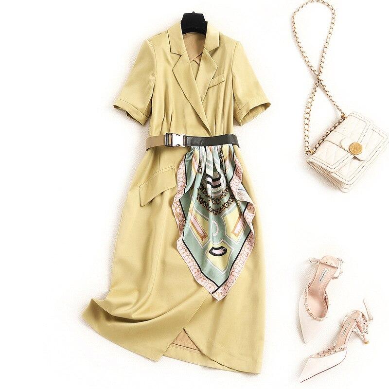 Vestido de alta gama de Color sólido, 2020, solapa de verano, costura de un solo pecho, bufanda de seda de contraste, vestidos de línea a con cinturón