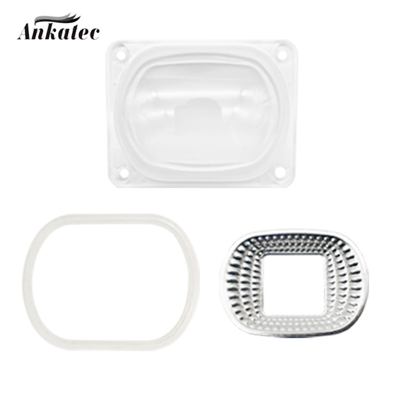 Lente led refletor para led cob chip abajur kit pc lente + refletor anel de silicone abajur para led projector diy