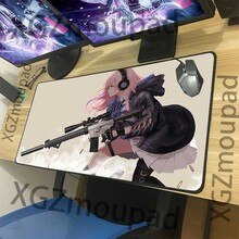 XGZ Anime Girls Frontline Custom Large Gaming Mouse Pad Black Lock Edge Sexy Gunner Pattern Computer Table Mat Coaster Non-slip