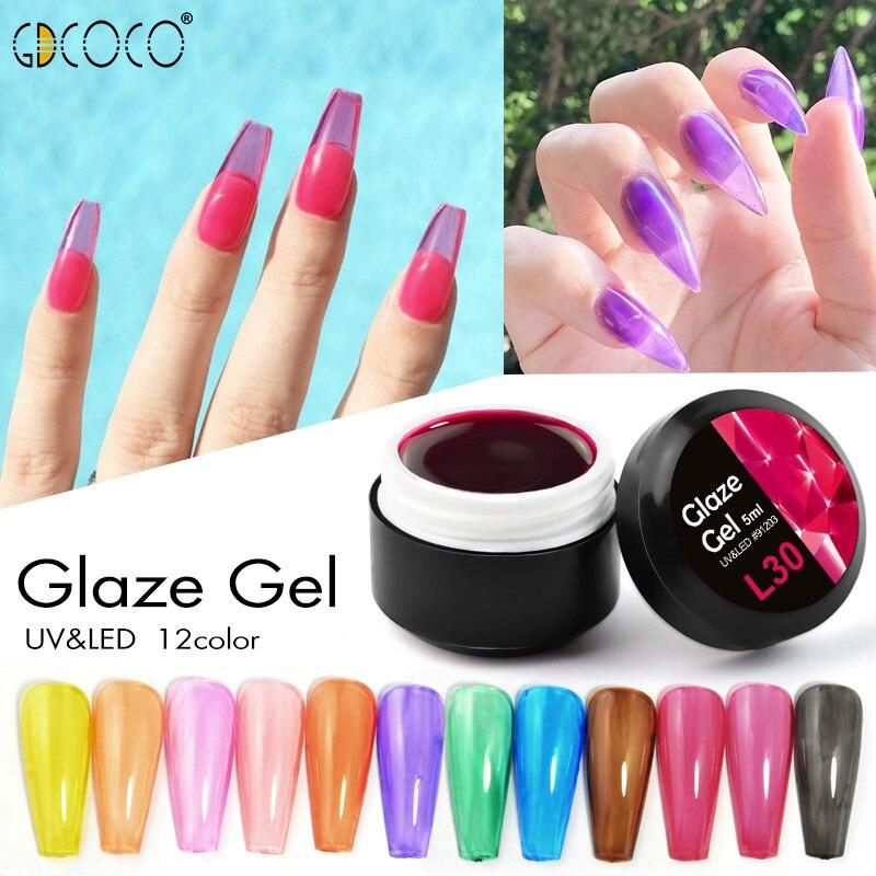 GDCOCO nueva llegada esmalte de Gel de cristal translúcido de laca Gel de neón de Color piedras preciosas de remojo, UV LED de cristal Gel de uñas barniz