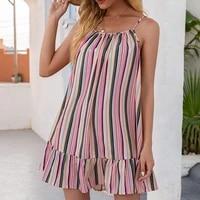 patchwork color stripe print short dress women sleeveless off shoulder hem ruffle design female casual sexy mini suspender dress
