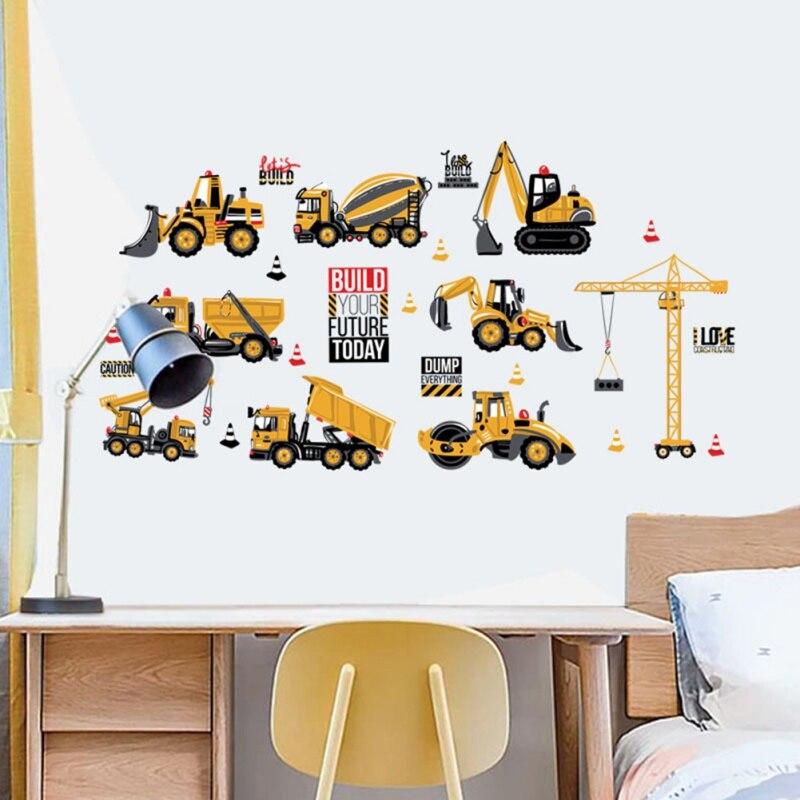 2020 pegatinas de pared decorativas coche de ingeniería de Tractor habitación de los niños mesita de noche gabinete decoración pegatinas de pared infantiles