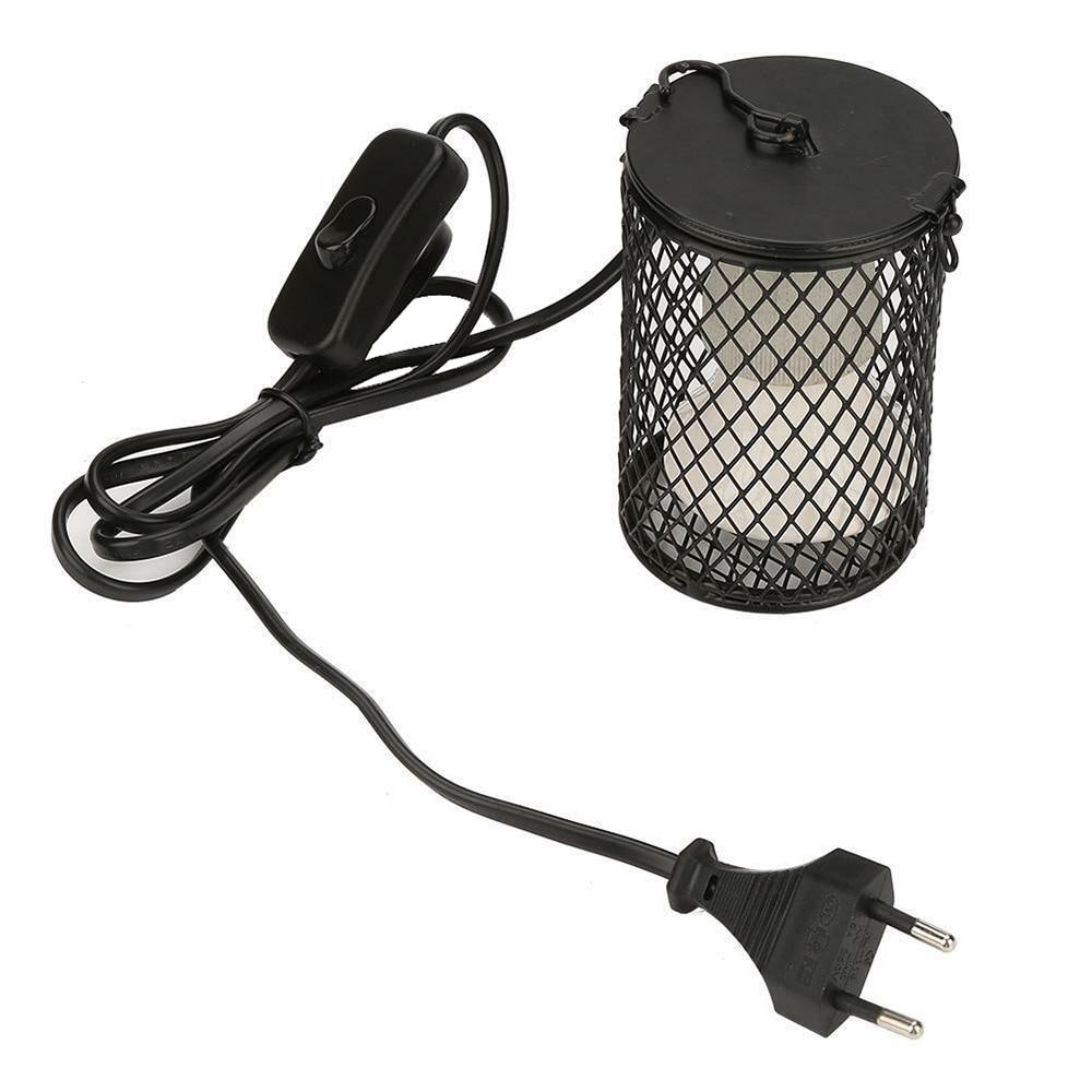 Lámpara de calefacción para mascotas, luz de cerámica infrarroja con emisor de jaula de seguridad, cubierta de lámpara de calor, suministros para mascotas, pantalla de reptiles de pollos
