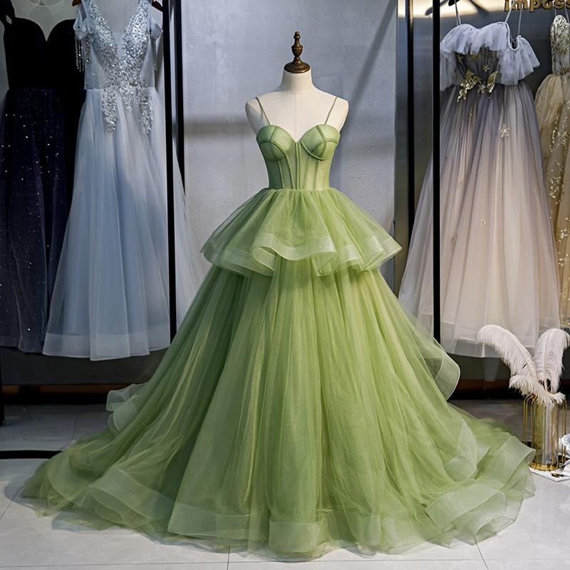 Fashion Long Evening Dresses 2021 Puffy Spaghetti Strap Ball Gowns Arabic Dubai Women Formal Party Dress