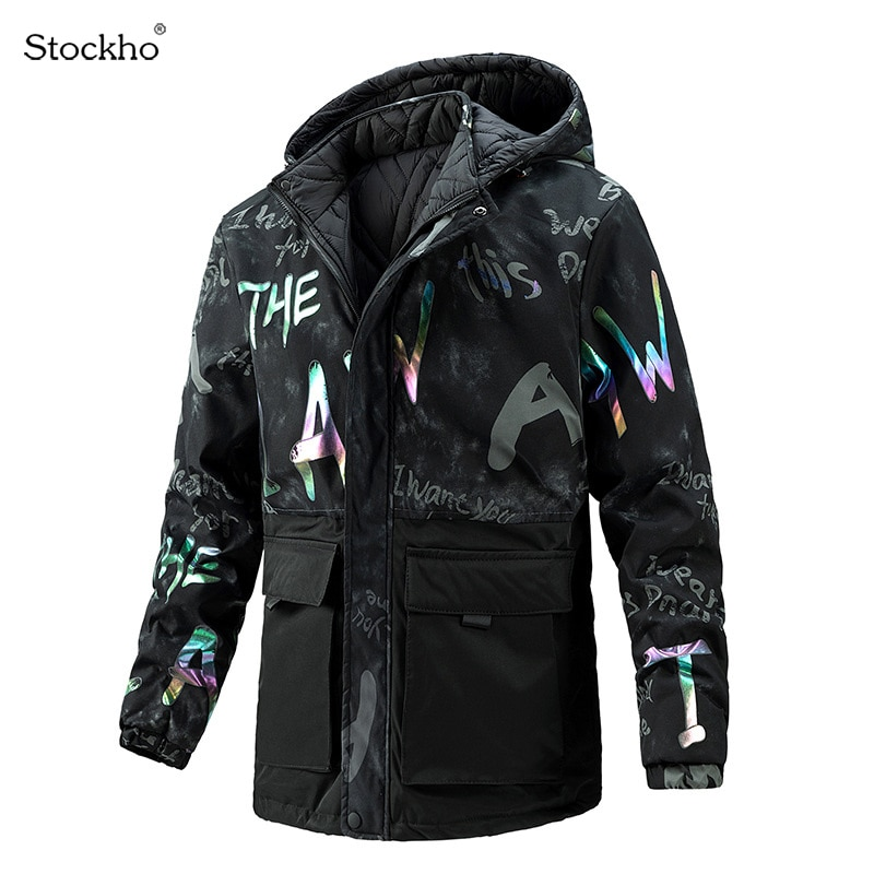 Мужские зимние куртки, двусторонние пальто, ветровка с капюшоном, мужские стеганые куртки средней длины, уличные спортивные куртки с подкла...