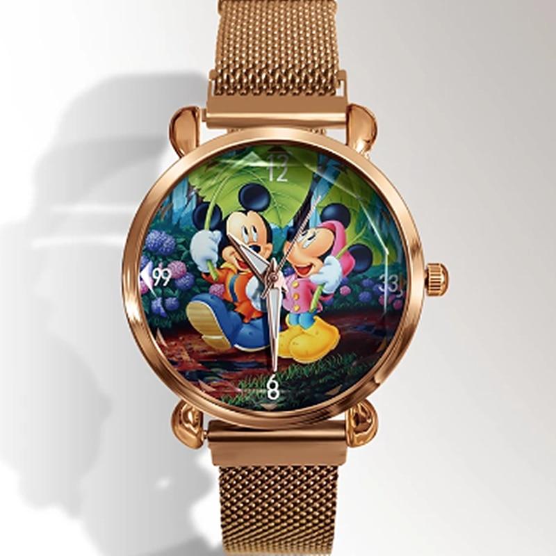 2021New Anime Cartoon Women Watch Reloj Fashion Mesh Band Magnet Buckle Bracelet Quartz Watches Cute Boy Girl Like Clock Часы
