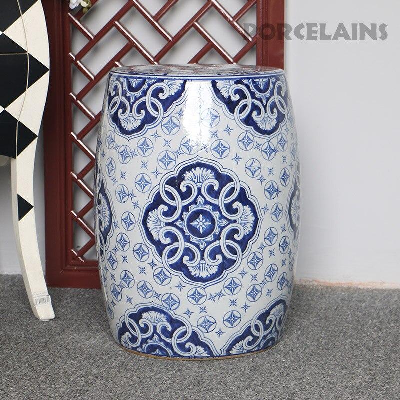 Китайские синие и белые фарфоровые садовые табуреты ручной работы табуреты из дуба